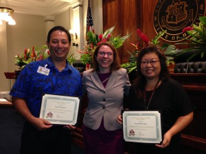 SPO Presents Jacqueline Choy and Brent Suyama of DCCA with the Pueo Award on September 5, 2014.