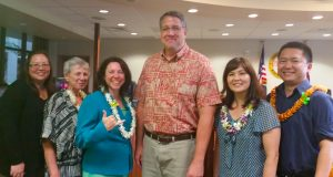 Pictured from left to right: Lisa Miura, Mara Smith, Sarah Allen, Jeff Dansdill, Carey Ann Sasaki and Owen Kano worked together to bring a training session to Hilo. Mahalo to Jeff and Lisa for coordinating this event.